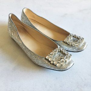 Kate Spade Norella silver glitter flat shoe buckle